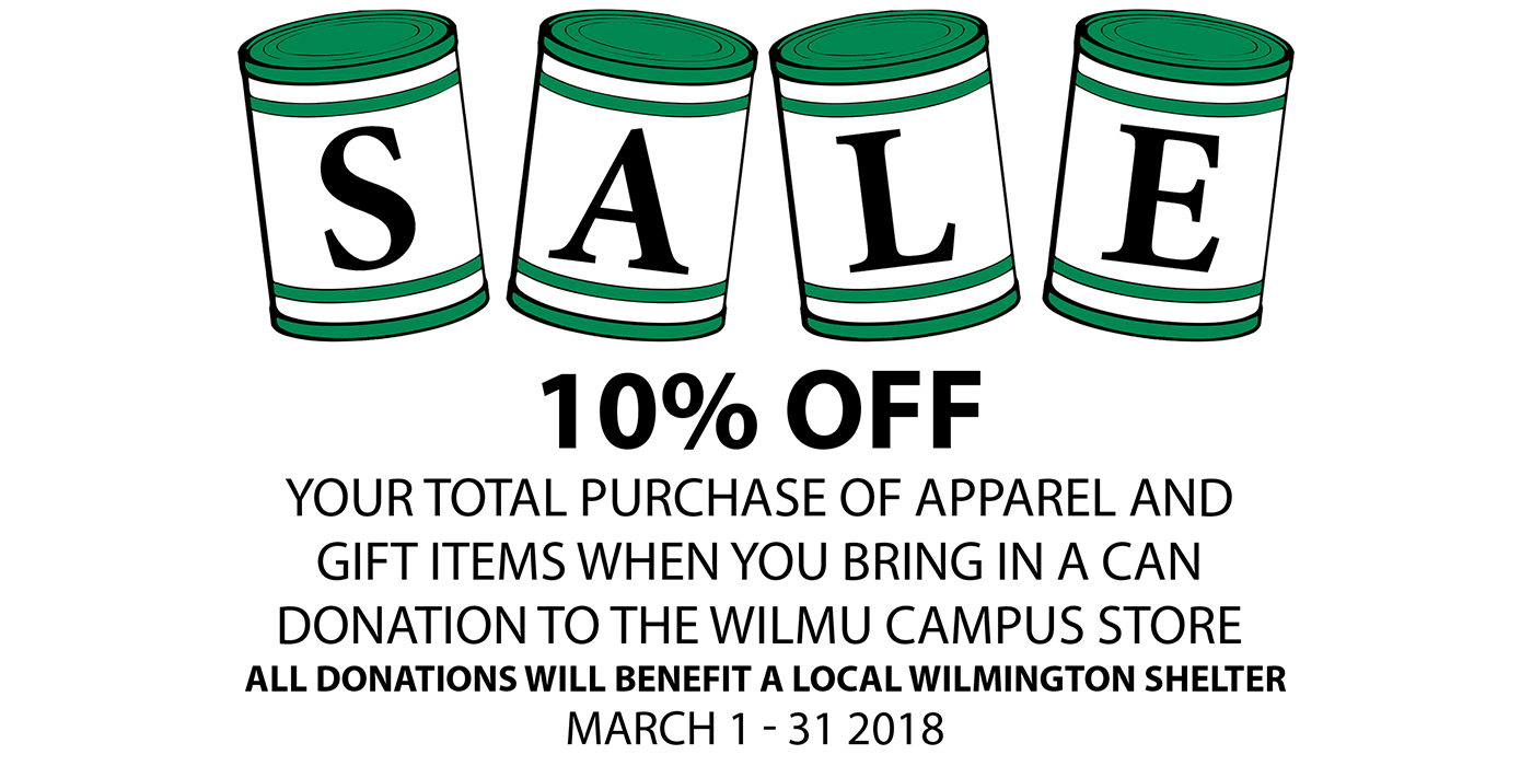 March 1-31, get 10% Off your total purchase of GM and Apparel when you bring in a can donation to the Campus Store