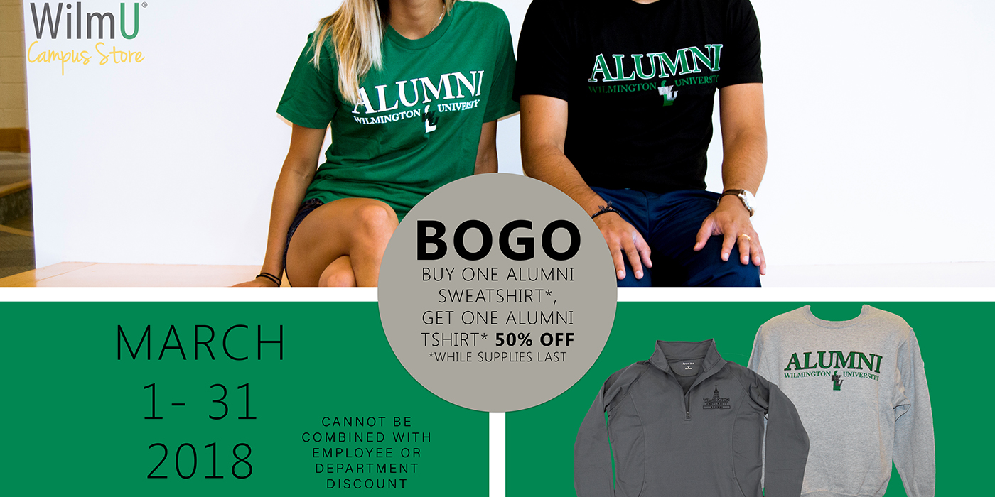 March 1-31, Buy one Alumni Sweatshirt, get one Alumni tshirt 50% off!  *While supplies last*